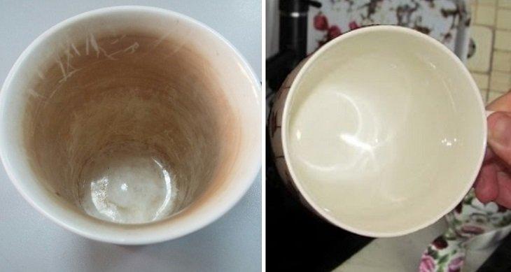 Лайфхаки с газировкой, как очистить чашку о чайного налета