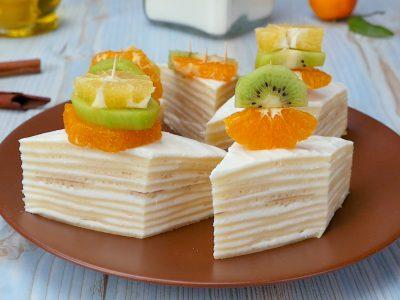 Как приготовить блинный торт с творогом